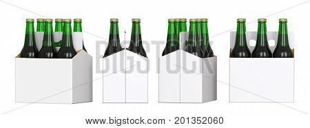 Six green beer bottles in white corton pack. Four Different views 3D render isolated on white background