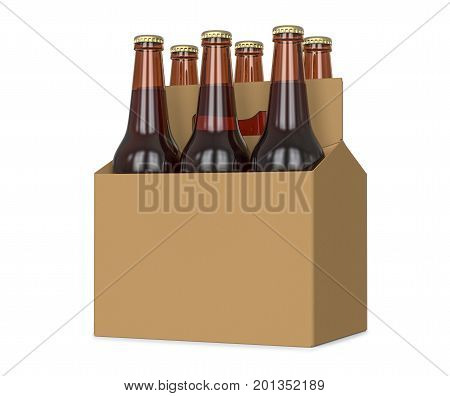 Six pack of glass bottled beer in generic brown cardboard carrier 3d Illustration isolated on white background