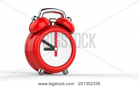 Cartoon red alarm clock. 3d Illustration isolated on white background