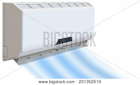 Air conditioning cooling breeze blows cold. 3D render on white background
