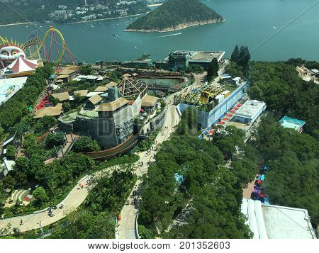 Hong Kong, China - 9 October, 2015 : aerial view of Ocean Park, Hongkong. It is an  entertainment park with view over the ocean in south of the island