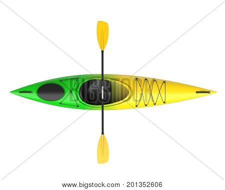 Three horizontal view of yellow green crossover kayak with paddle. Whitewater and river running kayak. 3D render isolated on white background