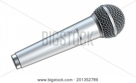 Silver microphone isolated on white background 3D render