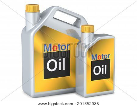 Set of canisters motor oil. 3D render, isolated on white background