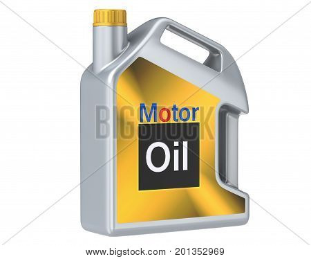 Gray plastic canister of motor oil. 3D render, isolated on white background