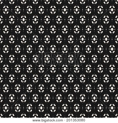 Subtle abstract geometric background. Vector seamless ornament pattern. Monochrome texture with small ovate geometrical shapes. Dark decorative design element for prints, package, covers, digital, web.