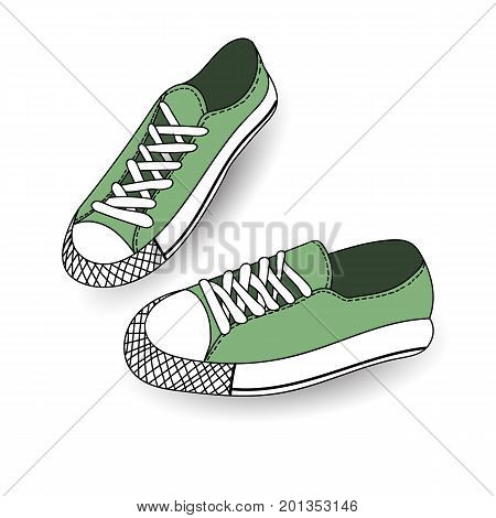Vector illustration of hand drawn, drawing, sport shoes for tennis, trainers, sneakers. Casual style. Doodle design, element for logo