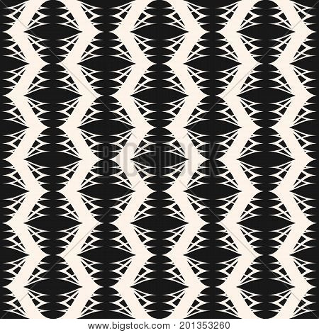 Vector seamless pattern. Elegant monochrome geometric background, wavy lines, weave texture. Delicate abstract pattern, repeat tiles. Stylish design for prints, home decor pattern, textile background, fabric pattern