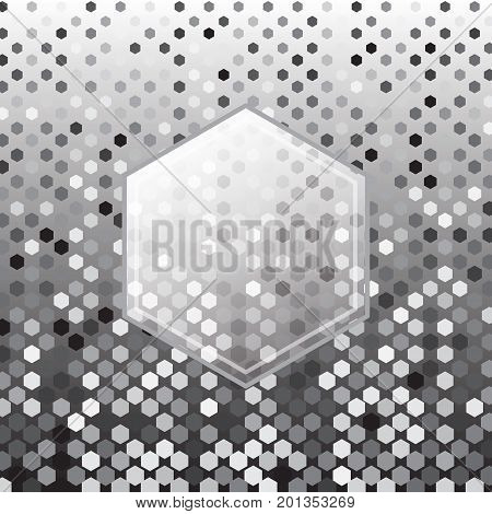 Hexagon silver halftone abstract background stock vector