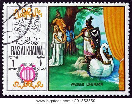 RAS AL-KHAIMAH - CIRCA 1969: a stamp printed in Ras al-Khaimah shows Lohengrin by Richard Wagner Scene from Opera circa 1969