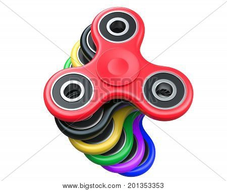 Stack of Milticolour Fidget Finger Spinners Antistress Toy on a white background. 3d Rendering