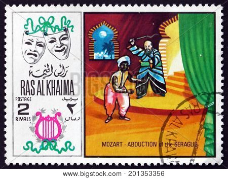 RAS AL-KHAIMAH - CIRCA 1969: a stamp printed in Ras al-Khaimah shows Abduction from the Seraglio by Wolfgang Amadeus Mozart Scene from Opera circa 1969