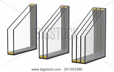 Double triple and quadruple windows insulated glazing isolated on white