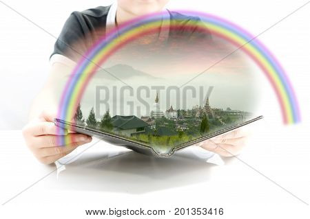 Smart kid learning. Natural phenomenon rainbow with 3D book for new experience