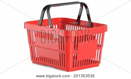 An empty red plastic shopping basket, 3d illustration. 3D render, isolated on white background.
