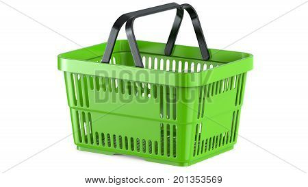3D rendering of a green shopping basket. 3D illustration, isolated on white background.