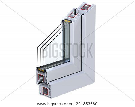 Double glazing cutaway to show the inner profile. Cross section through a window PVC profile. 3D render, isolated on white background