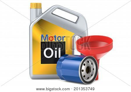 Car oil filters and motor oil plastic can, 3d illustration. 3D render, isolated on white background