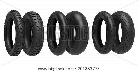 Front and rear, racing, road and off-road, motorcycle tires. 3d rendering. 3D illustration, isolated on white background