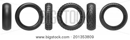 Front and side view of racing, road and off-road, motorcycle tires. 3d rendering. 3D illustration, isolated on white background