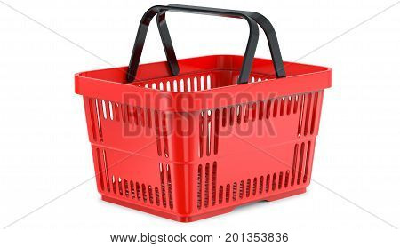 A studio render , of an empty shopping basket. 3d illustration, isolated on white background