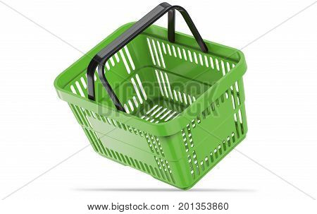 Falling green empty shopping basket. 3d illustration. 3D render, isolated on white background.