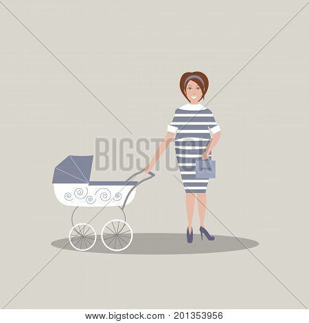 Cute young pregnant mother in dark blue dress with white stripes and shoes with high heels. A baby carriage. Gray background. Vector illustration