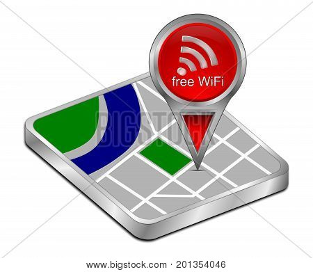 red map pointer with free WiFi Symbol - 3D illustration