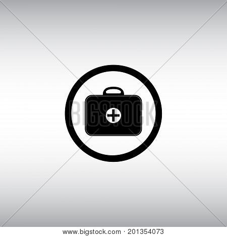 Medicine chest isolated vector sign. First aid kit vector illustration. Medical bag flat round icon.