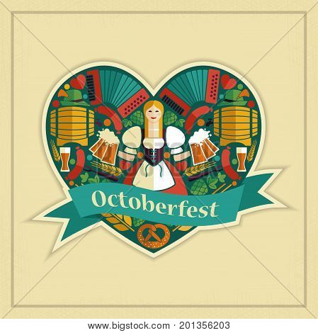 The symbols of the Oktoberfest in the shape of a heart