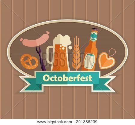 Octoberfest vector Illustration. German food and beer symbols.
