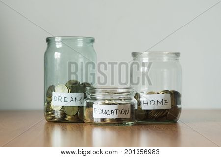 Coins In Jars, Education, Dream And Home Stickers