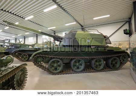 PAROLA, FINLAND - JUNE 10, 2017: ZSU-57-2 - the Soviet antiaircraft self-propelled artillery cannon in the tank museum of the Parola
