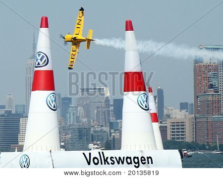 NEW JERSEY - JUNE 19: Pilot Nigel Lamb from United Kingdom qualifies for the Red Bull Air Race on June 19, 2010 at Liberty State Park in New Jersey.