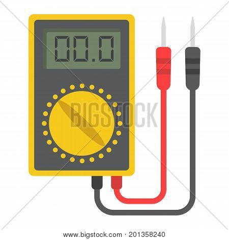 Digital multimeter flat icon, build and repair, electric volmeter sign vector graphics, a colorful solid pattern on a white background, eps 10.