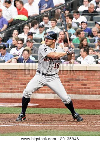 FLUSHING - JUNE 23: Detroit Tigers outfielder Johnny Damon bats against the New York Mets on June 23, 2010 at Citi Field Park in Flushing, New York.