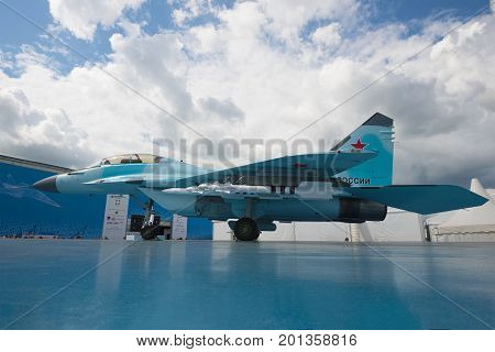 ZHUKOVSKY, RUSSIA - JULY 20, 2017: The presentation of the Russian multipurpose easy fighter MiG-35 on the MAKS-2017 air show