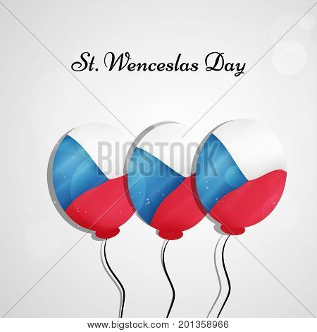 illustration of balloons in Czech Republic flag background with St. Wenceslas Day text on the occasion of St. Wenceslas Day. St. Wenceslas Day is Celebrated as national day in Czech Republic