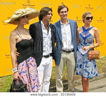 NEW YORK - JUNE 27: Polo athlete Nacho Figueras, Jared Kushner and Ivanka Trump attend the 3rd annual Veuve Clicquot Polo Classic at Governor's Island on June 27, 2010 in New York City.