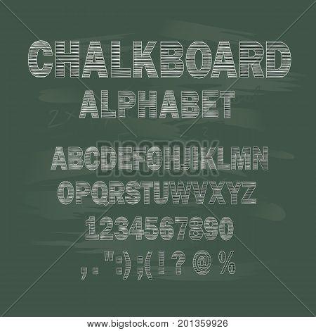 Chalk capital letters of the Latin alphabet on a school chalkboard