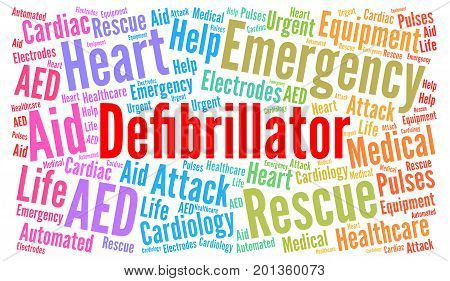 Defibrillator word cloud illustration with a white background