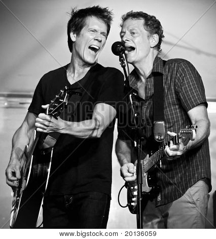 """HICKSVILLE - JULY 28: The Bacon Brothers performed at the Town of Oyster Bay's """"Music Under the Stars"""" Summer Concert Series on July 28, 2010 in Hicksville, NY."""