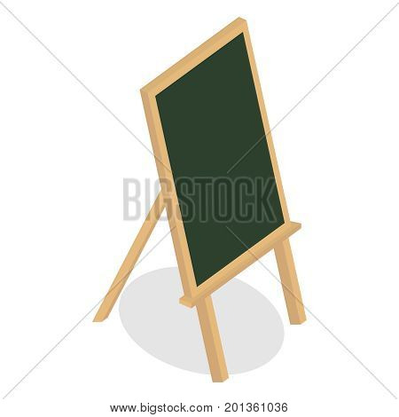 School blank boards. Wooden frame board and chalk board on tripod. Flat design, vector illustration, vector.