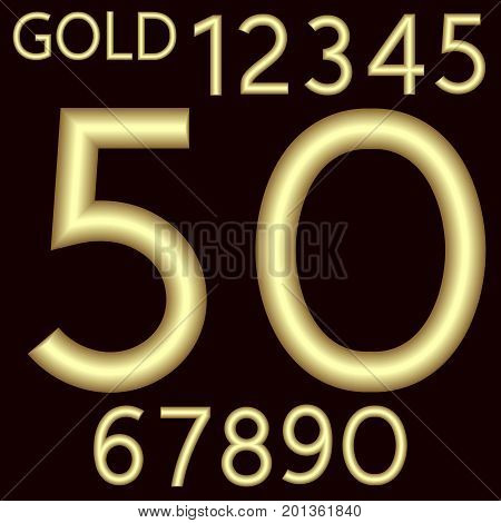 A complete set of numbers made from gold wire with a matte surface. Font is isolated by a velvety dark crimson background. Numbers are made in 3D shapes with smooth edges. Vector illustration.