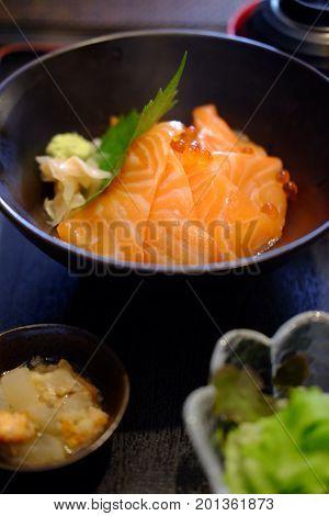 Salmon sashimi set with Salmon and Salmon caviar (Japanese food)