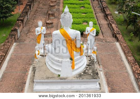 White Buddha at Wat Yai Chaimongkol in Ayutthaya historical park of Ayutthaya Province Thailand