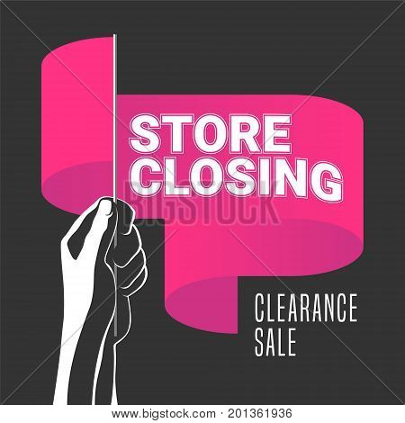 Store closing sale vector illustration background. Template banner flyer for store closing clearance sale