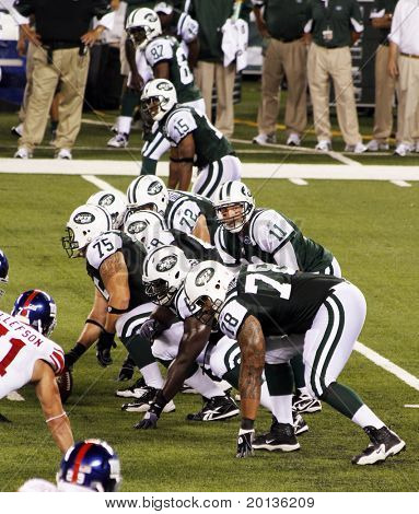 EAST RUTHERFORD, NJ - AUGUST 16: New York Jets Quarterback Kellen Clemens in action against the New York Giants at the new Meadowlands arena on August 16, 2010 in East Rutherford, New Jersey.