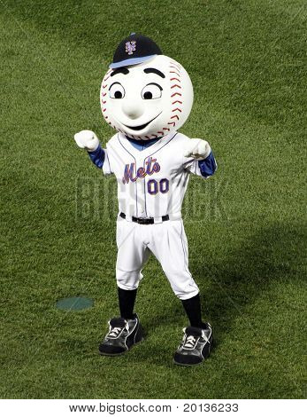 FLUSHING, NY - AUGUST 15: New York Mets mascot, Mr. Met conducts the 7th inning stretch at Citi Field on August 15, 2010 in Flushing, New York.