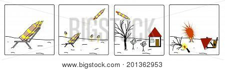 A missile bomb explodes explodes and destroys a house and a tree